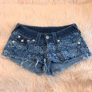 Unique true religion paisley denim booty shorts